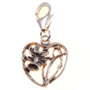 Daffodil Heart Sterling Silver Clip On Charm - With Clasp - Wales